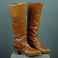 70s Frye Boots Vintage 1970s Black Label Caramel Cuff Knee High 7