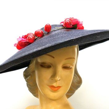 Vintage Navy Extra Wide-Brim Straw Saucer Hat On Cap 1940'S Poppies & Grapes