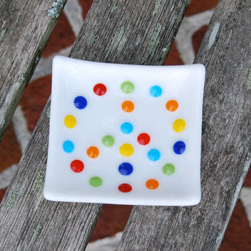 Peace Sign Trinket Dish - Little Fused Glass Dish - Spoon Rest - Jewelry Holder