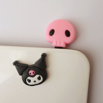 On Sale Cute Pink Skull and iPhone Home Button Sticker -  Earphone Cap Anti Dust Plug IPhone 4 Charm - Cellphone Accessories