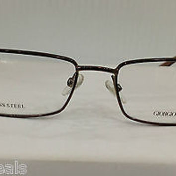 NEW AUTHENTIC GIORGIO ARMANI GA549 COL NJH BROWN EYEGLASSES FRAME SWAROVSKI 51