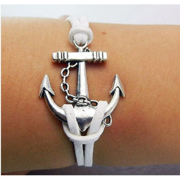 Anchor Bracelet,simple fashion Bracelet,Love bracelet,Couples bracelet,lover bracelet,leather bracelet,hipsters jewelry,braided bracelet,white wax rope