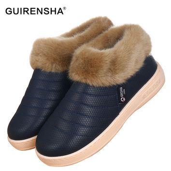 GUIRENSHA Slip-Resistant Bottom Sole men's Cozy House Slippers plush indoor shoes soft house slippers