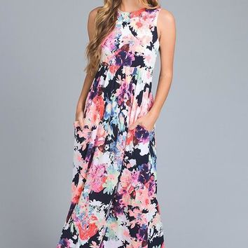 Split Up Floral Maxi Dress