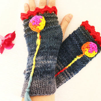 Bohemian Gloves Knitted gloves embroidered hippie bohemian navy red balloon Arm Warmers Fingerless Gloves Christmas gift option