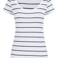 Blue Jasmine And White Striped Tee - Blue Jasmine Combo