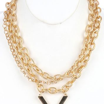 Three Gold Rolo Chain Bib Necklace with Metal V Shape