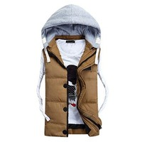 Men's Eiderdown Cotton Winter Vest with Removable Hood