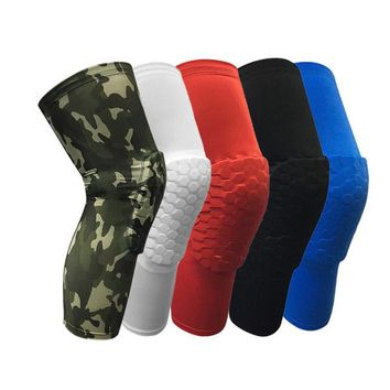 New Honeycomb Anti-collision Professional Basketball Compression Knee Sleeve Protector Team Sports Training Knee pads Free Shipping
