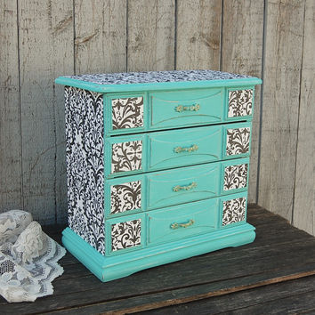 Aqua damask jewelry chest