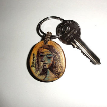 "Picasso keychain, Pablo Picasso: ""If I don't have red, I use blue. Natural key chain famous artists. Famous painter quotes key ring. Popular"