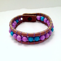 Purple and Blue Leather Cuff Bracelet - Handmade, Wood Beads, Leather, Hand Sewn, Unisex, Lavender, Turquoise, Rustic, Earthy, Timeless, Fun