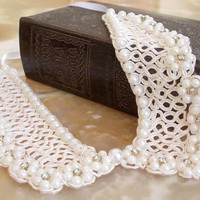 Pearl Beaded Detachable collar, Ivory Wedding Peter Pan Collar Necklace, Vintage Style, Preppy