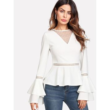 White Dot Mesh V-Neck Lace Insert Peplum Top