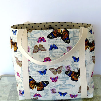 Everyday Handmade Shoulder Bag Butterfly Bag Butterfly Tote Bag Butterfly Shoulder Bag Knitting Bag Beach Bag
