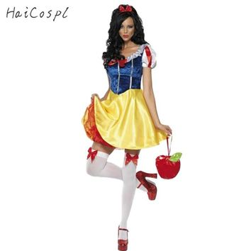 Adult Snow White Costume Women Cosplay Carnival Halloween Dress Girls Fairy Tale Female Fancy Dress Plus Size Party Outfit
