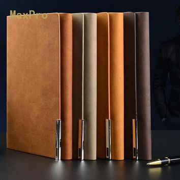 Leather cover a5 loose-leaf notebook logo customized stationery books commercial notepad spiral binder agenda business book