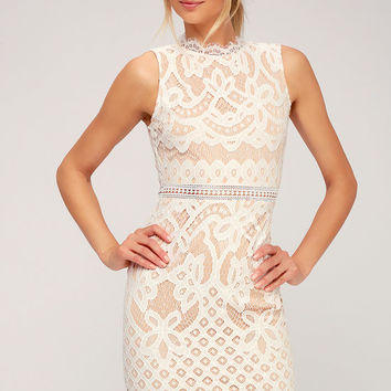 Adra White Lace Midi Dress