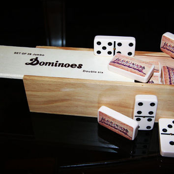 """Ivory """"The Last Supper"""" Dominoes"""