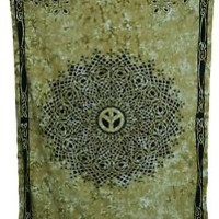 CELTIC PEACE SIGN KNOT TWIN SIZE TAPESTRY WALL HANGING HIPPIE BEDSPREAD