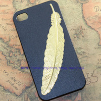 Golden angle Feather iphone case,little owl case for iPhone 4 Case, iPhone 4s Case, iPhone 4 Hard Case B