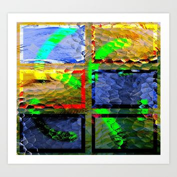 Collage with glassing effect Art Print by Ellen Turner