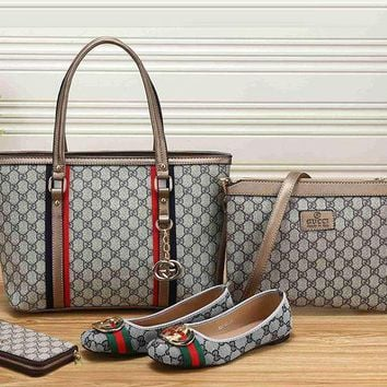 Gucci New Fashion Women Leather Tote Satchel Crossbody Handbag Shoes Wallet Set Four Piece