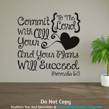 Personalized Word Art Vinyl Wall Decal Sticker Proverbs Bible Verse Gift Commit To The Lord And Succeed