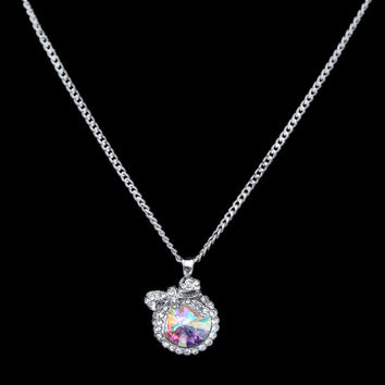 Shiny Stylish New Arrival Gift Jewelry Crystal Pendant Korean Metal Butterfly Sweater Necklace [6573123271]