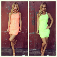 Neon Vegas Open Back Beaded Mini Dress
