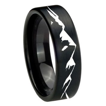 8MM Brush Black Sound Wave I love you Pipe Cut Tungsten Carbide Laser Engraved Ring