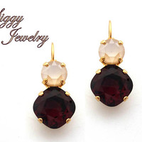 Swarovski® Crystal Earrings, 12mm Cushion Cut Burgundy, 8mm Ivory Cream, Double Drop Lever Back, Wedding, Assorted Finishes, Gift Packaged