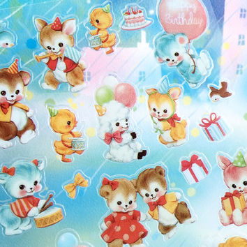 Retro animal adorable pet sticker lovely rabbit teddy bear duck classic plush animal Paper doll mate Vintage animal toy dolly sticker gift