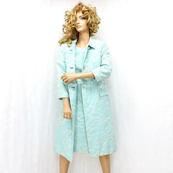 Gorgeous 60s silk brocade dress / coat / size 10 / 12 / vintage 1960s baby blue / aqua dress / opera coat / Formal 60s two piece dress