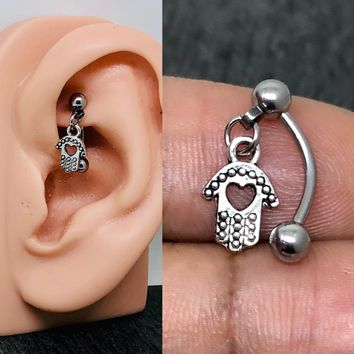 Rook piercing, Daith, Eyebrows piercing 316L Stainless steel 16g tiny Hamsa body piercing jewelry