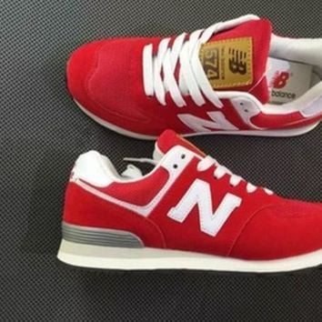New Balance Fashion Leisure All-Match N Words Breathable Lovers Sneakers Shoes Red I
