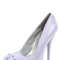 Qupid Neutral-284x Lavender Glitter Spiked Cap Toe Pump and Shop Shoes at MakeMeChic.com