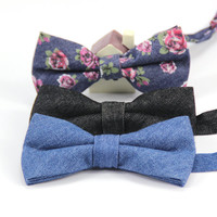 Men's Classic Adjustable Denim Cotton bowtie Boys Childrens Students Solid butterfly Bow Tie Holiday Birthday Party Accessories