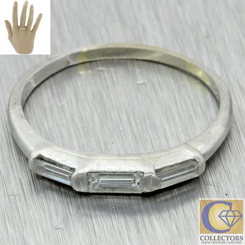 1930s Antique Art Deco Platinum .40ct Baguette Diamond 2mm Wedding Band Ring