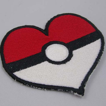 Poke Heart Embroidered Iron on OR Sew on Patch