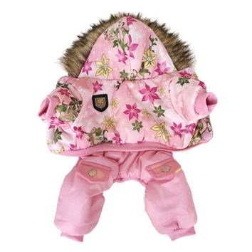 Popular Quality Flower Pattern Hooded Pet Dogs Winter Coat  Thickness Dogs Clothes S to Xl New Dogs Clothing