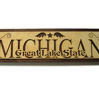 Michigan Great Lake State Wall Hanging Sign / Plaque Handmade By KevsKrafts