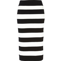 River Island Womens Black and white stripe bandage midi skirt