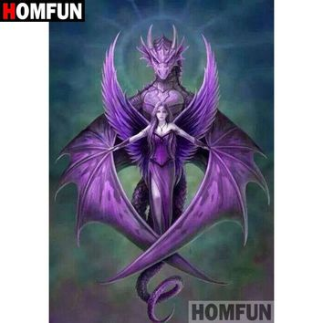 "HOMFUN 5D DIY Diamond Painting Full Square/Round Drill ""Angel dragon"" Embroidery Cross Stitch Mosaic Home Decor Gift A09151"