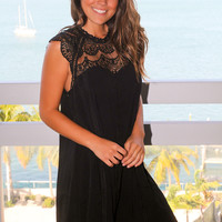 Black Crochet Short Dress with Cap Sleeves