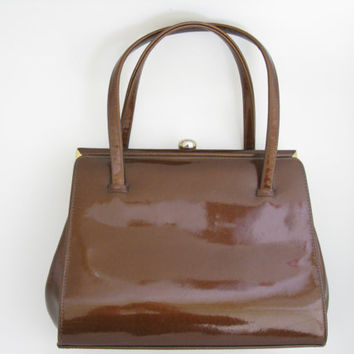 Maclaren Bronze Brown Patent Leather Vintage Handbag - Patent Leather Purse Bag - 1950s Handbag - Kelly Style Handbag - Grace Kelly Style