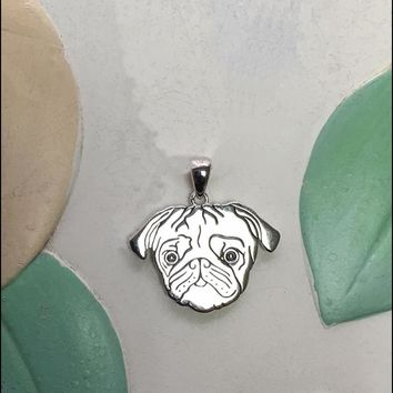 Pug with Heart Cutout Sterling Silver Charm