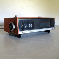 VINTAGE MODERN ELECTRONICS 1973 Sony Digimatic Japan Flip Clock Radio Alarm Tfm-C690W 70s Mid Century Working Solid State Wood Case