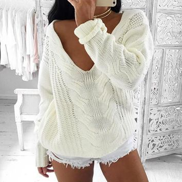 Stylish v neck longsleeve white acrylic sweater