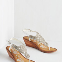 ModCloth Luxe Twinkle in Your Stride Sandal in White